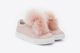 BB318-16 Kids Pink Oversized Pom Sneakers