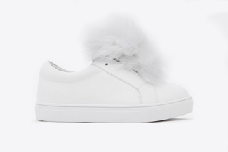 BB318-16 Kids White Oversized Pom Sneakers