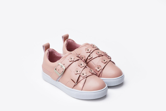 BB8626-1 Kids Pink Floral Embellished Sneakers