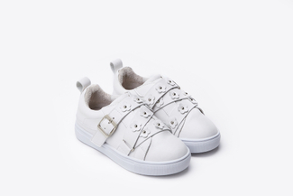 BB8626-1 Kids White Floral Embellished Sneakers
