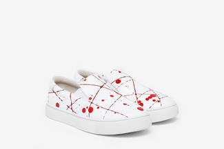 BB8988-10 Kids Red Paint Splattered Sneakers