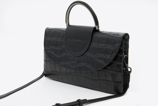 J023 Black Metal Handle Clutch Bag