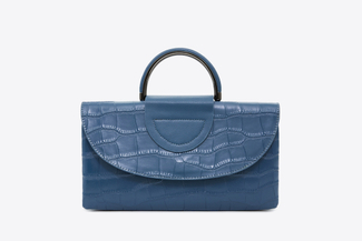 J023 Blue Metal Handle Clutch Bag