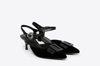 LT826-63 Black Buckle Front Detachable Slingback Heels