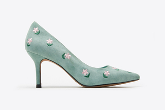 LT828-11 Mint Floral Embroidery Heels