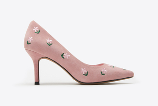 LT828-11 Pink Floral Embroidery Heels
