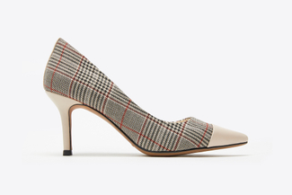 LT828-13 Beige Plaid Pointy Front Heels