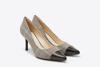 LT828-13 Black Plaid Pointy Front Heels
