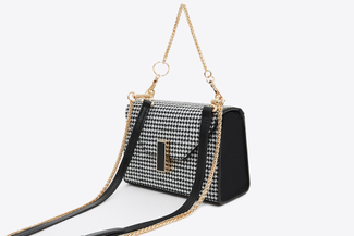 SB6406 Black Houndstooth Leather Chain Bag