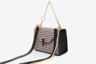 SB6406 Red Houndstooth Leather Chain Bag