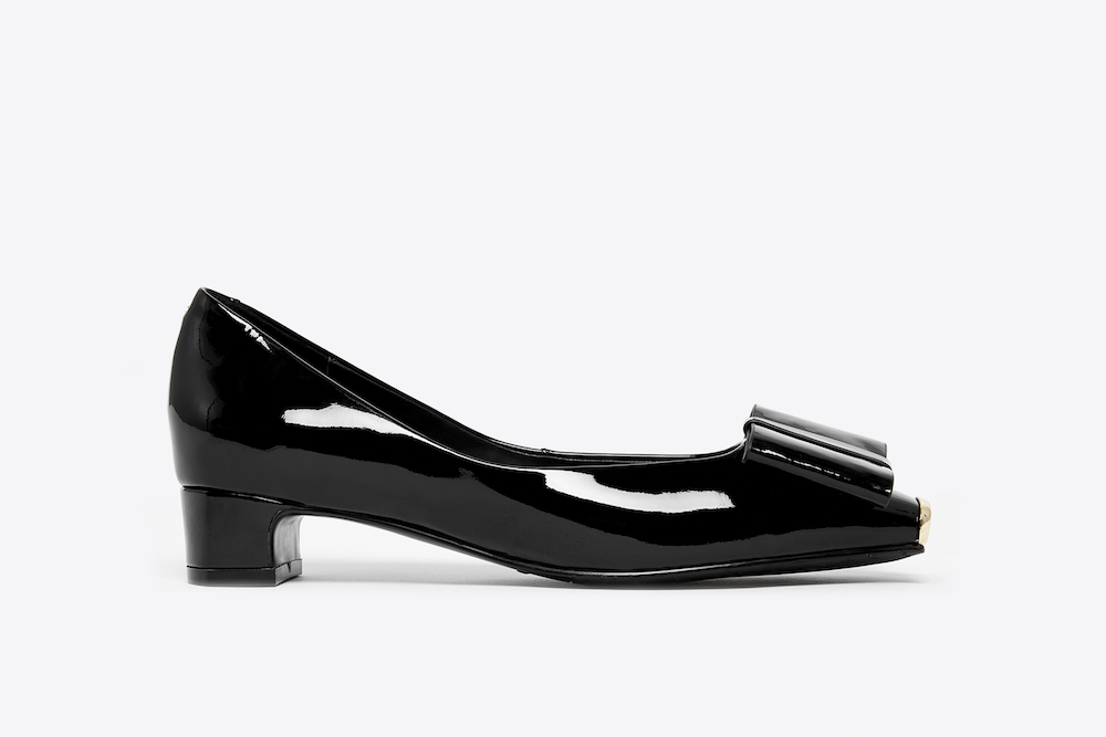 6638-1 Black Bow Low-Heeled Pumps | PAZZION