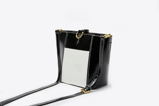 1188 Black Angular Buckle Crossbody Bag