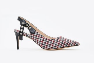 2886A-10 Red Houndstooth Slingback Pumps