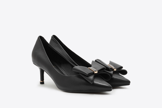 531-1 Black Bow Front Kitten Heels