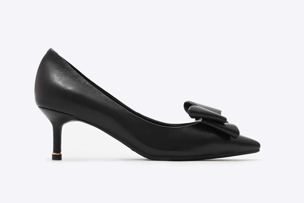 new high new styles official photos 531-1 Black Bow Front Kitten Heels