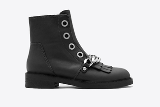 0076-332 Black Leather Combat Boots