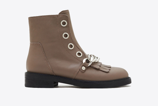 0076-332 Khaki Leather Combat Boots