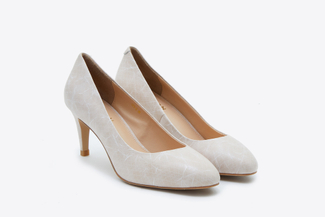 073-2 Almond Textured Round Toe Heels