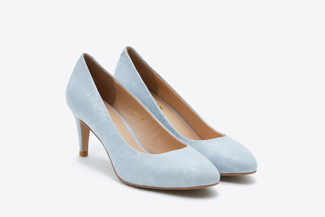 073-2 Light Blue Textured Round Toe Heels