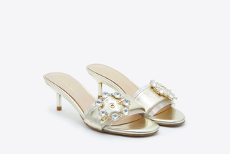 128-1 Gold Crystal Buckle Sandals