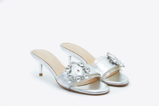 128-1 Silver Crystal Buckle Sandals