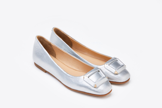 1718-42 Silver Metallic Buckle Flats