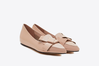 209-23 Nude Glossy Origami Pointed Flats