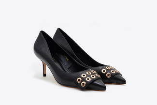2328-89 Black Eyelet Cut-Out Pumps