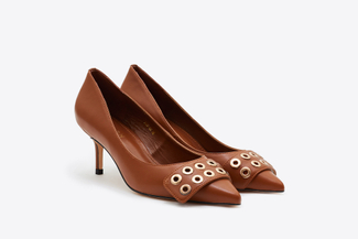 2328-89 Brown Eyelet Cut-Out Pumps