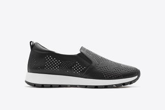 327-32 Black Sporty Perforated Sneakers