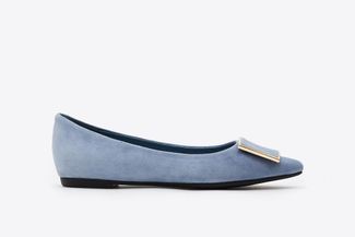 6067-001 Blue Buckle Front Suede Pointy Flats