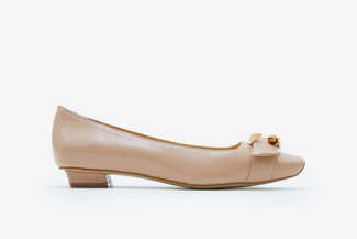 6618-1 Almond Buckle Square-Toed Low Heels