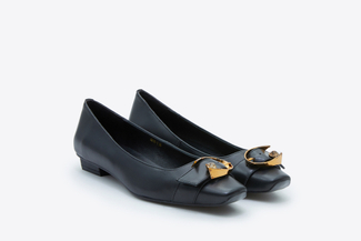 6618-1 Black Buckle Square-Toed Low Heels