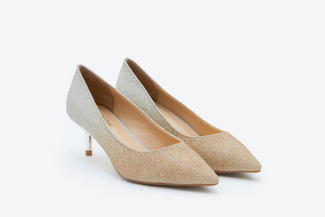 7123-9 Gold Glitter Pointy Low Heels