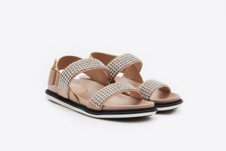 8068-4 Almond Crystal Strap Sandals