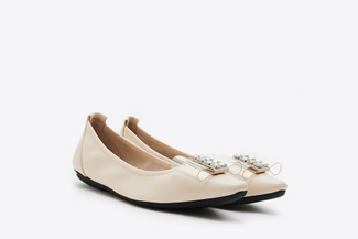 838-6 Beige Bow Front Pointy Toe Flats