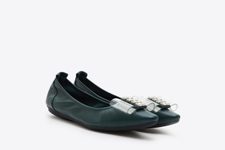 838-6 Green Bow Front Pointy Toe Flats