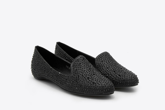 893-2A Black Crystal Embellishment Loafers