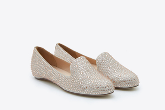 893-2A Champagne Crystal Embellishment Loafers
