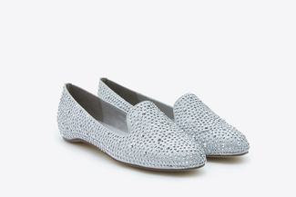 893-2A Silver Crystal Embellishment Loafers