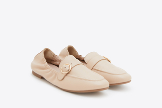 901-1 Apricot Buckle Front Loafers