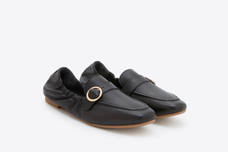 901-1 Black Buckle Front Loafers