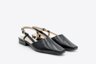 9238-5 Black Glossy Square Apron Toe Slingback Pumps
