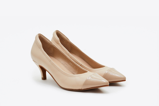 9878-38 Light Almond Pointy Front Ballet Pump Heels