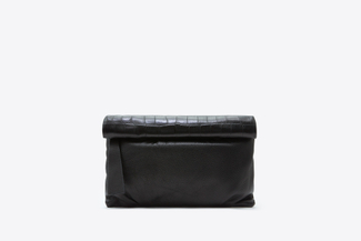 9960M Black Leather Foldover Clutch Bag