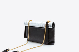9960M Silver Leather Foldover Clutch Bag