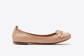 A166-600A Almond Delicate Bow Trim Flats
