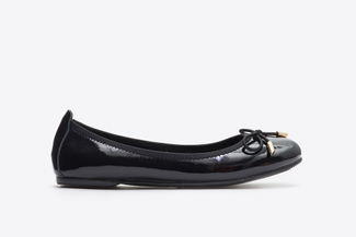 A166-600A Black Delicate Bow Trim Flats