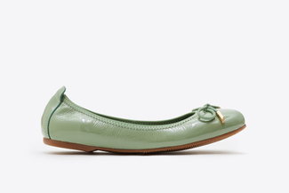 A166-600A Green Delicate Bow Trim Flats