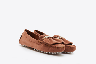 A8-99 Brown Ruffle Trim Diamente Loafers